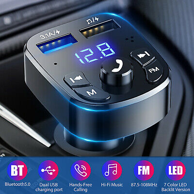 Bluetooth 5-0 Car Wireless FM Transmitter Adapter 2USB PD Charger AUX Hands-Free