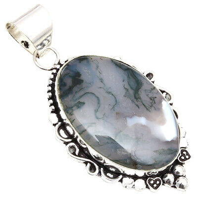 Moss Agate Gemstone Handmade Mothers Day Wishes 925 Silver Jewelry Pendant 2-5