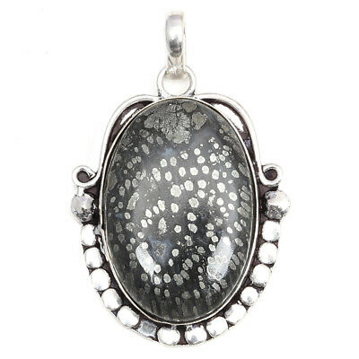 Snowflake Obsidian Gemstone Unisex Mothers Day 925 Silver Jewelry Pendant 2