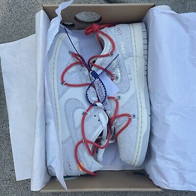 Nike x Off White Dunk Low Lot 13 Sail Neutral Grey Habanero Red Mens Size 9