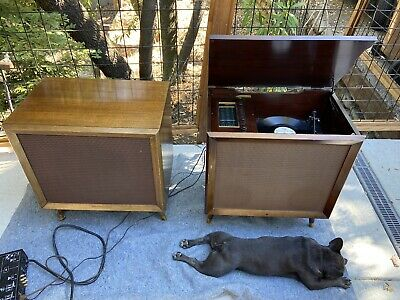 fisher tube console stereo with dual turntable working great