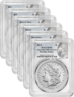 2021 Morgan and Peace Dollar 100th Anniv 6 Coin Set PCGS MS70 First Day of Issue