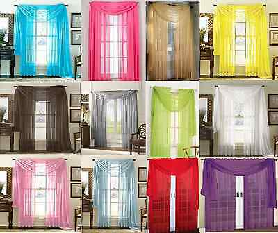 SHEER SCARF VALANCE DRAPES Voile Window Panel curtains 20 diff- colors SALE