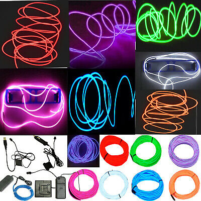 Neon LED Light Glow EL Wire String Strip Rope Tube Decor Car Party - Controller
