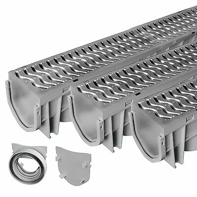 Source 1 Drainage Trench - Driveway Channel Drain with Steel Grate - 3-Pack