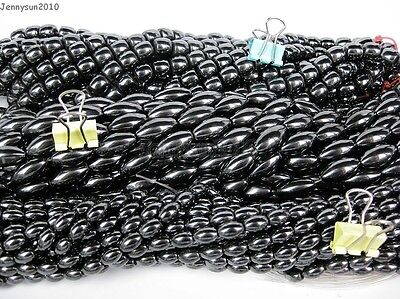 Grade AAA Healing Natural MAGNETIC Hematite Gemstone Rice Drum Beads 16 8mm
