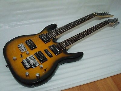 Sunburst 67 String Electric Double Neck Guitar with Padded Gig Bag
