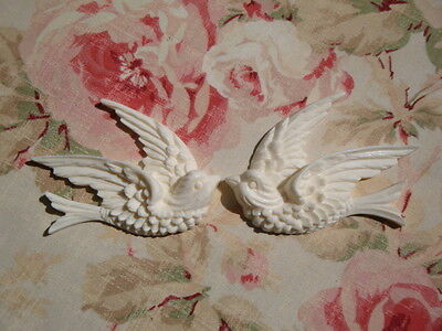 Shabby - Chic Swallow Bird Furniture Appliques 1 Pair LR Architectural Mount