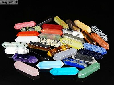 Natural Gemstone Hexagonal Pointed Reiki Chakra Raw Wand Pendant Beads Healing