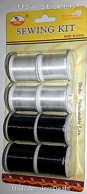 Invisible Nylon Thread 4 Clear - 4 Smoke Spools 600 Yards Total Sew Craft Quilts