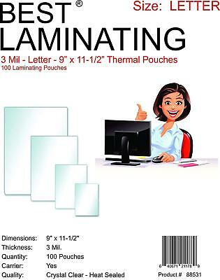 Best  3 Mil Crystal Clear Letter Size Thermal Laminating Pouches 9X11-5 Qty 100
