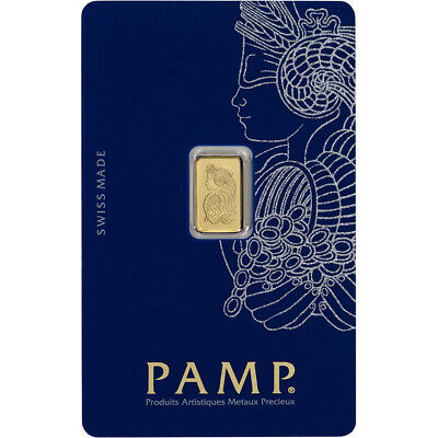 1 gram Gold Bar - PAMP Suisse - Fortuna - 999-9 Fine in Sealed Assay