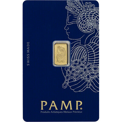 1 gram Gold Bar - PAMP Suisse - Fortuna - 999.9 Fine in Sealed Assay