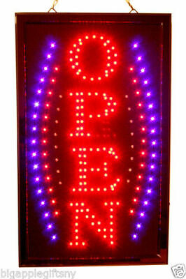 Large VERTICAL Animated LED OPEN Sign w- Motion ONOFF Switch 21 X 13 026