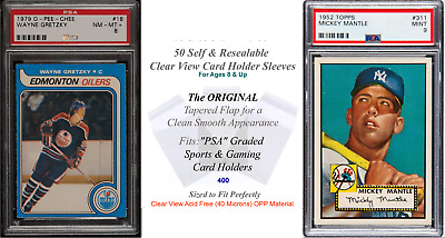 50 Perfect Fit Clear Sleeves for PSA Graded Sports Card Slabs 4 Mil 2x Thicker