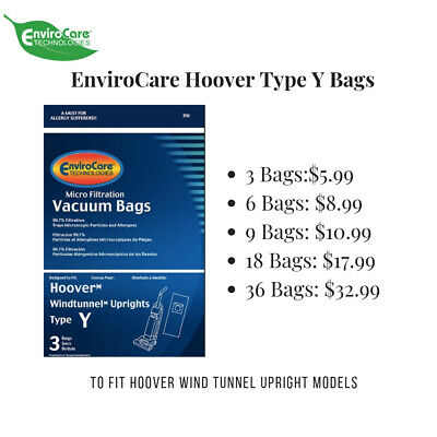 Hoover Type Y Vacuum Bags By Envirocare Fits Hoover Wind Tunnel Upright Vacs