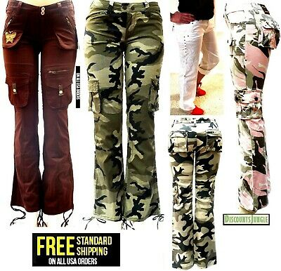 BLUE POINTE JEANS Juniors Womens Stretch premium Camouflage White cargo pants