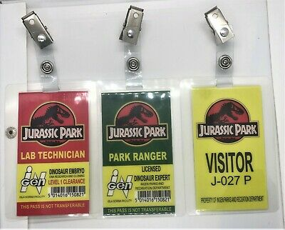 Jurassic Park - Park Ranger Lab Technician Visitor Prop ID Badge Card ALL 3