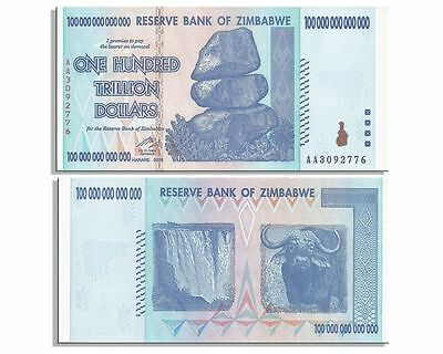 Zimbabwe 100 Trillion Dollar Note AA 2008 series UNCIRCULATED