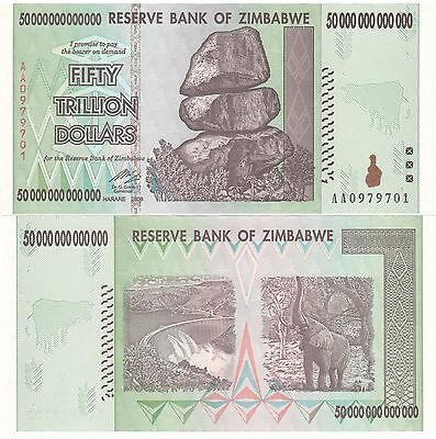2 X ZIMBABWE 50 TRILLION DOLLARS UNCIRCULATED AA2008 SERIES  100 Trillion