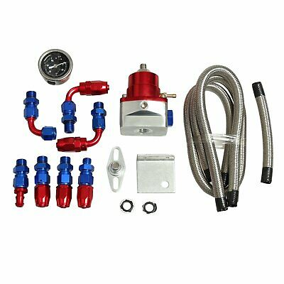 Universal Adjustable Fuel Pressure Regulator KIT - 100psi Guage AN 6 Fitting Red