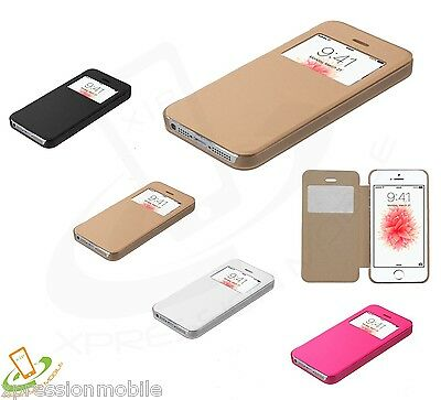 Flip Leather Wallet View Window Skin Clear Case Cover For Apple iPhone SE  5S