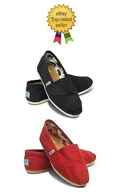 TOMS CLASSICS COLOR BLACK RED WOMEN SHOES-BRAND NEW WITH TAG-ALL SIZES-