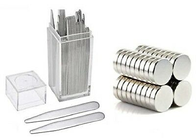 20 Metal Collar Stays 2-5 - 10 Magnets For Men Shirts In Clear Plastic Box