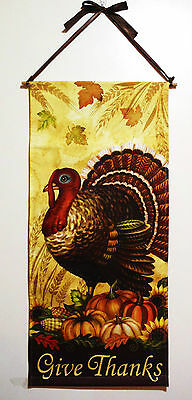 THANKSGIVING FALL BANNER TURKEY wGIVE THANKS BEAUTIFUL DESIGN 30 LONG