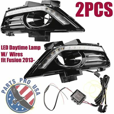 2PCS LED Front Daytime Fog Light Lamp Cover w WIRE For Ford Fusion 2013-2016