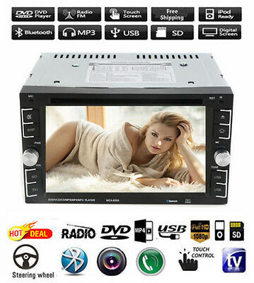Double 2Din 6-2 Car Stereo DVD CD MP3 Player HD In Dash Bluetooth TV Radio HOT