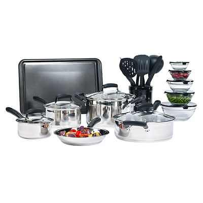 25-Piece Essential Stainless Steel Mega Cookware Set Pots And Pans Kitchen New