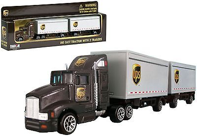Daron 187 HO scale diecast UPS freight 12 wheels truck tractor with 2 trailers