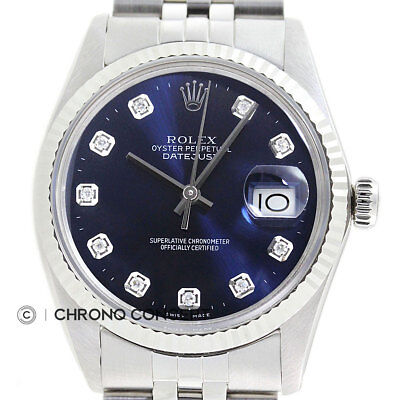 Mens Rolex Datejust Blue Diamond Dial 18K White Gold  Stainless Steel Watch