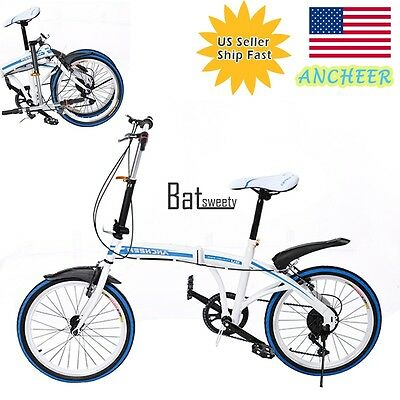 20Folding Bicycle 6-Speed Foldable Bike Cycling Outdoor Carbon Steel Blue