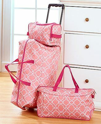 Pink Trellis 3 Pc Luggage Travel Set Rolling Duffel Tote ToiletryCosmetic Bag