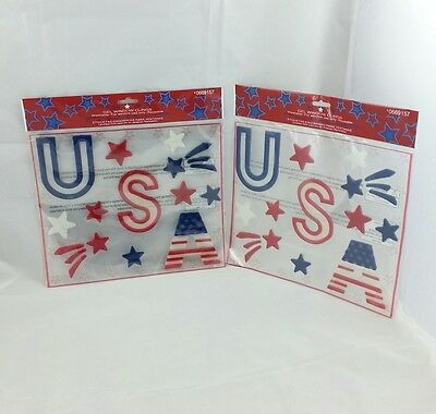 Lot of 2 4th of July USA Patriotic fireworks window Clings