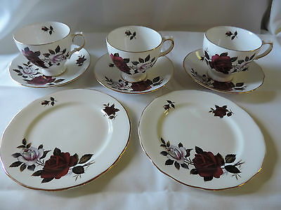Set of Colcough Amoretta Cups Saucers and Bread Plates