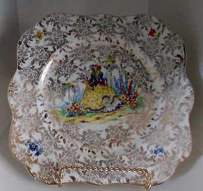 Vintage Early Colclough Crinoline Lady Cake Plate