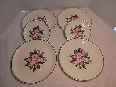 Vintage Paden City Pottery Co- Modern Orchid Pattern  LOT of Plates Made in USA