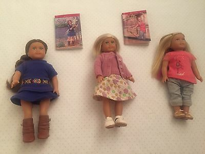 New  Lot of 3 Mini American Girl Dolls Kit Saige and Isabelle