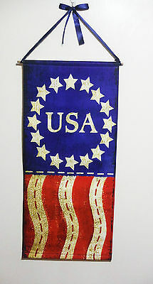 4TH OF JULY HANGING BANNER PATRIOTIC SUMMER DECOR USA FLAG 35X13