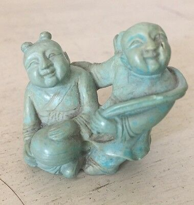 Antique Chinese Carved Turquoise Stone Statue Figures Men Old China Art 23g