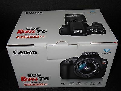NEW Canon EOS Rebel T6 DSLR Camera Kit with EF-S 18-55mm f3-5-5-6 IS Lens - Bag