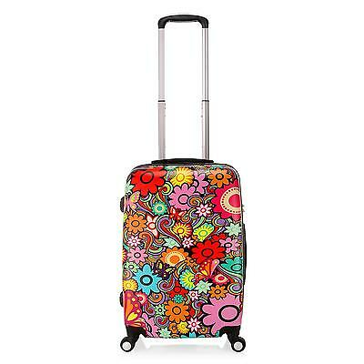 20 inch PC Travel Luggage Flower Butterfly Carry On Suitcase Cabin Trolley Bag