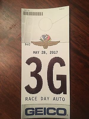 2017 Indianapolis INDY 500 Parking pass Great Location 3G