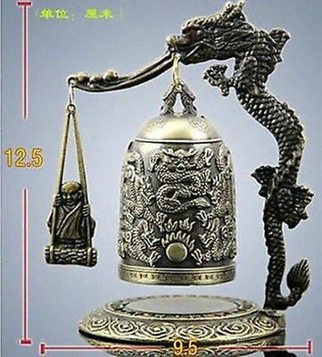 Exquisite Tibet Bronze Carved Dragon-buddha Bell