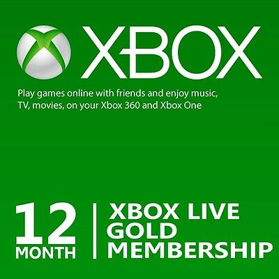 12 Month Microsoft Xbox Live Gold Membership Subscription for Xbox OneXbox 360