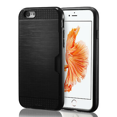For iPhone 6 6S 8 7 Plus X Case Credit Card Wallet Shockproof Bumper Hard Cover