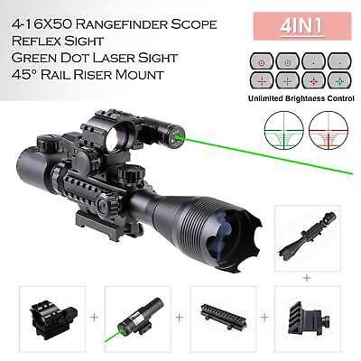 Rifle Scope 4-16x50 Illuminated Reticle w Red Green Dot Sight and Green Laser